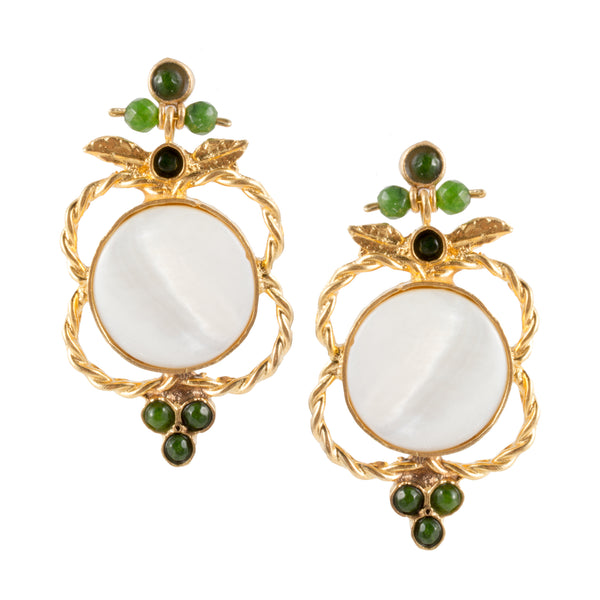 Turkish Delights Earrings: Mother of Pearl Medallions with Green Accents