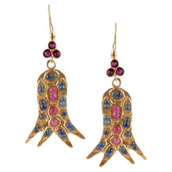 Turkish Delights Earrings: Tulip Drops in Fuchsia & Blue