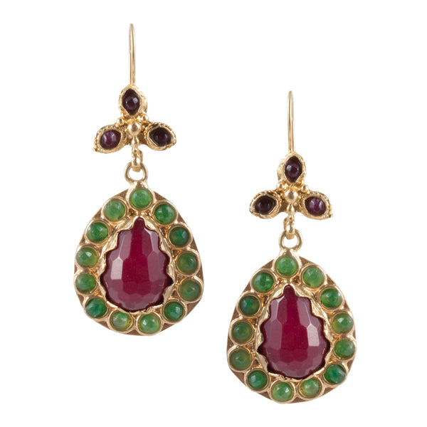 Turkish Delights Earrings: Pear Drops in Rose & Green