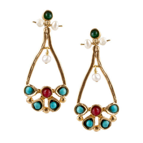 Turkish Delights Earrings: Elegant Drops with Turquoise & Pearl Accents