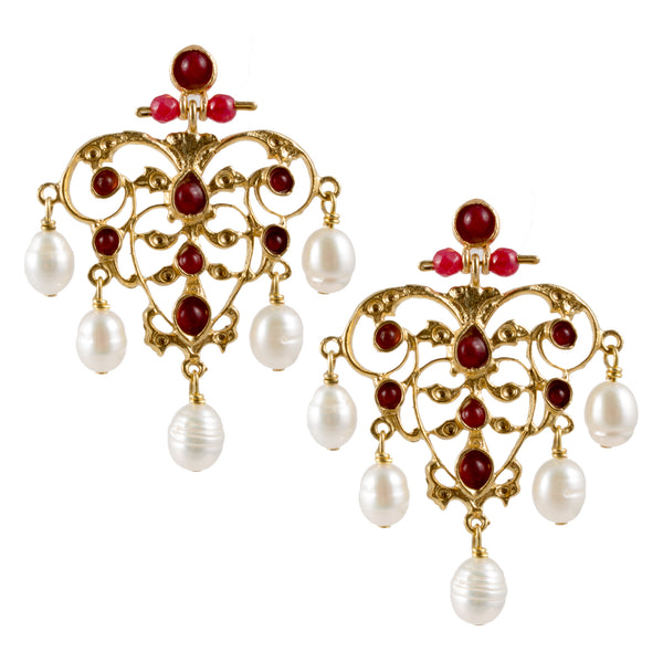 Turkish Delights Earrings: Delicate Filigree & Pearl Chandelier Drops