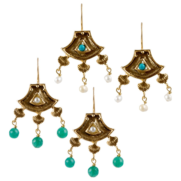 Turkish Delights Earrings: Fan Chandelier Drops (Two Colors)