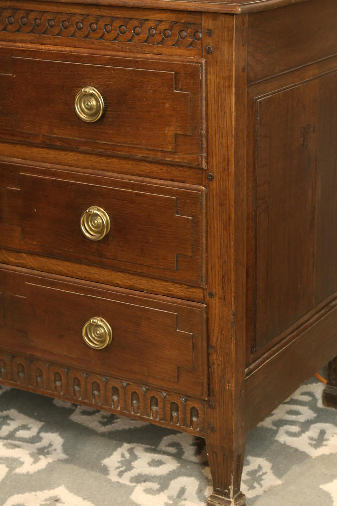 Antique French Empire Commode with Brass Hardware and Geometric Carvings
