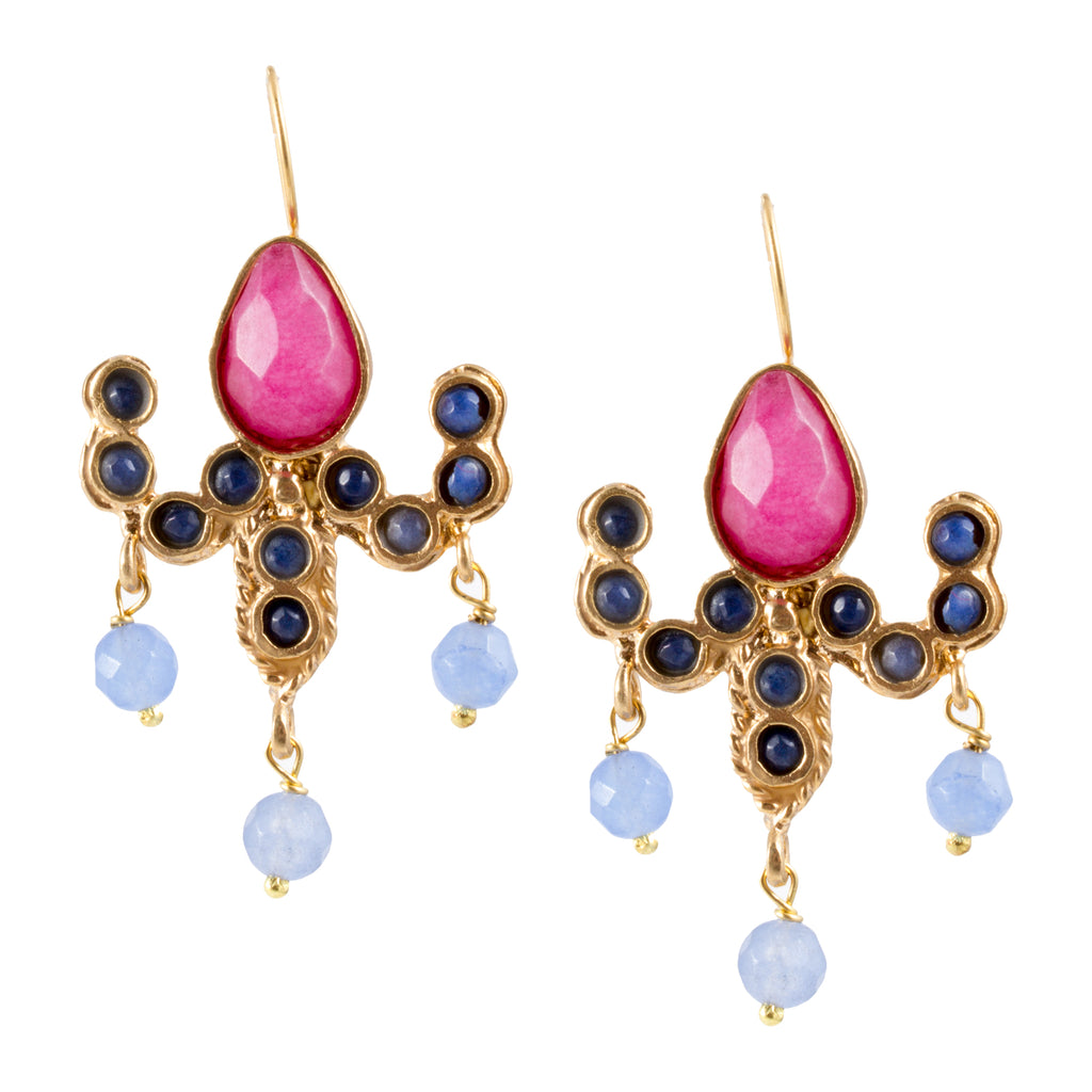 Turkish Delights Earrings: Colorful Chandelier Drops