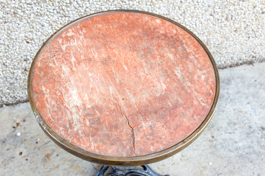 Antique French Iron Bistro Table with Distressed Leather Top