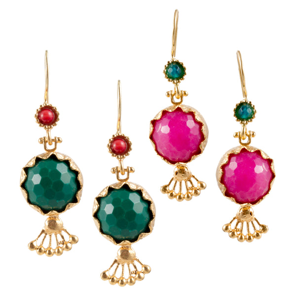 Turkish Delights Earrings: Faceted Pomegranate Drops (Two Colors)