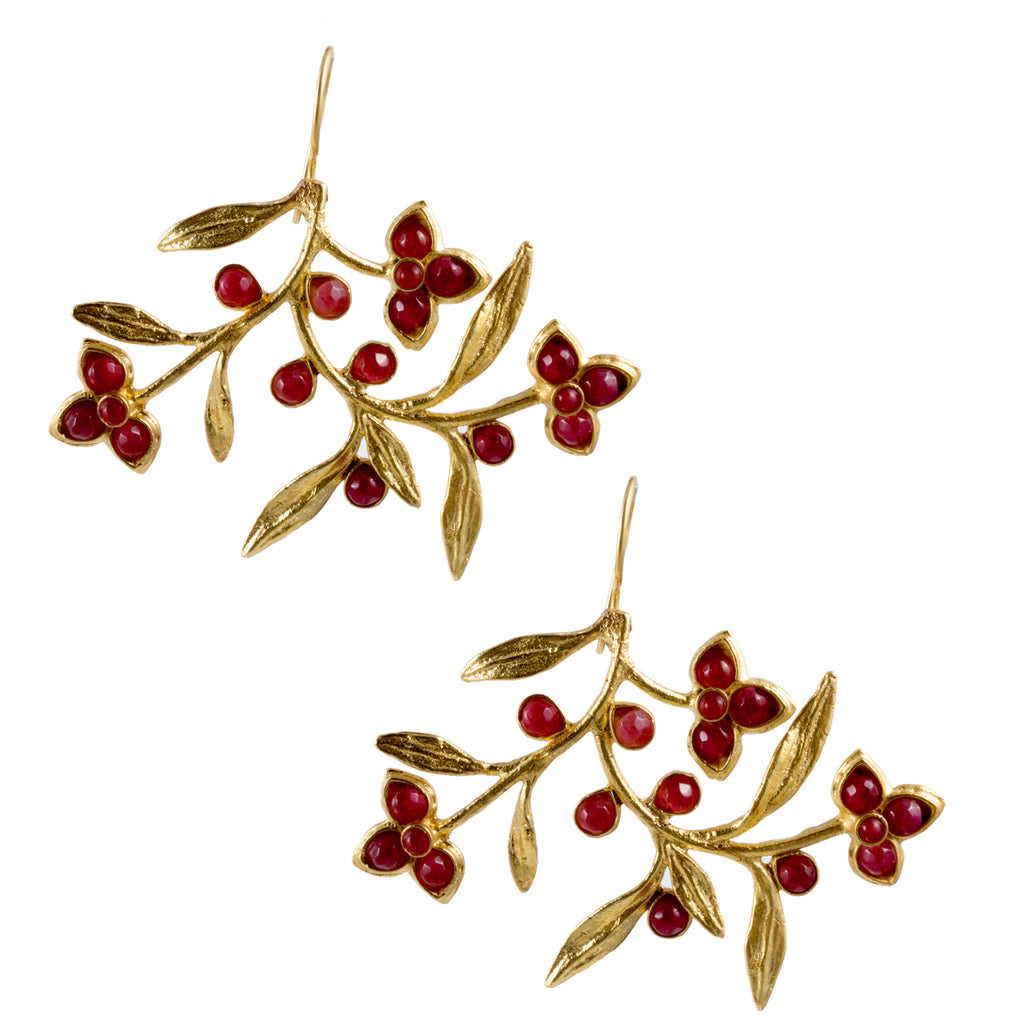 Turkish Delights Earrings: Kashmir Floral Pendants (Two Colors)