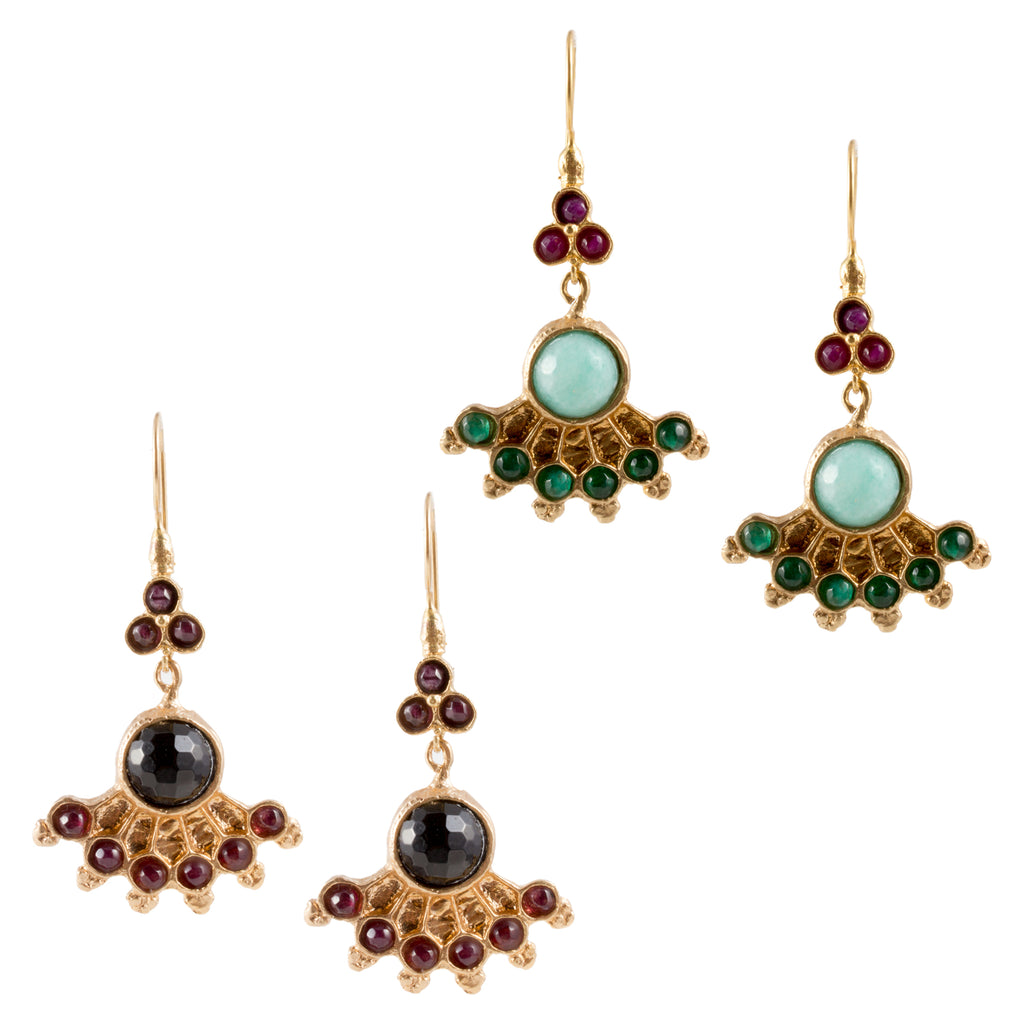 Turkish Delights Earrings: Colorful Fan Drops