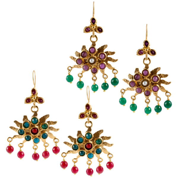 Turkish Delights Earrings: Sunburst Chandelier Drops