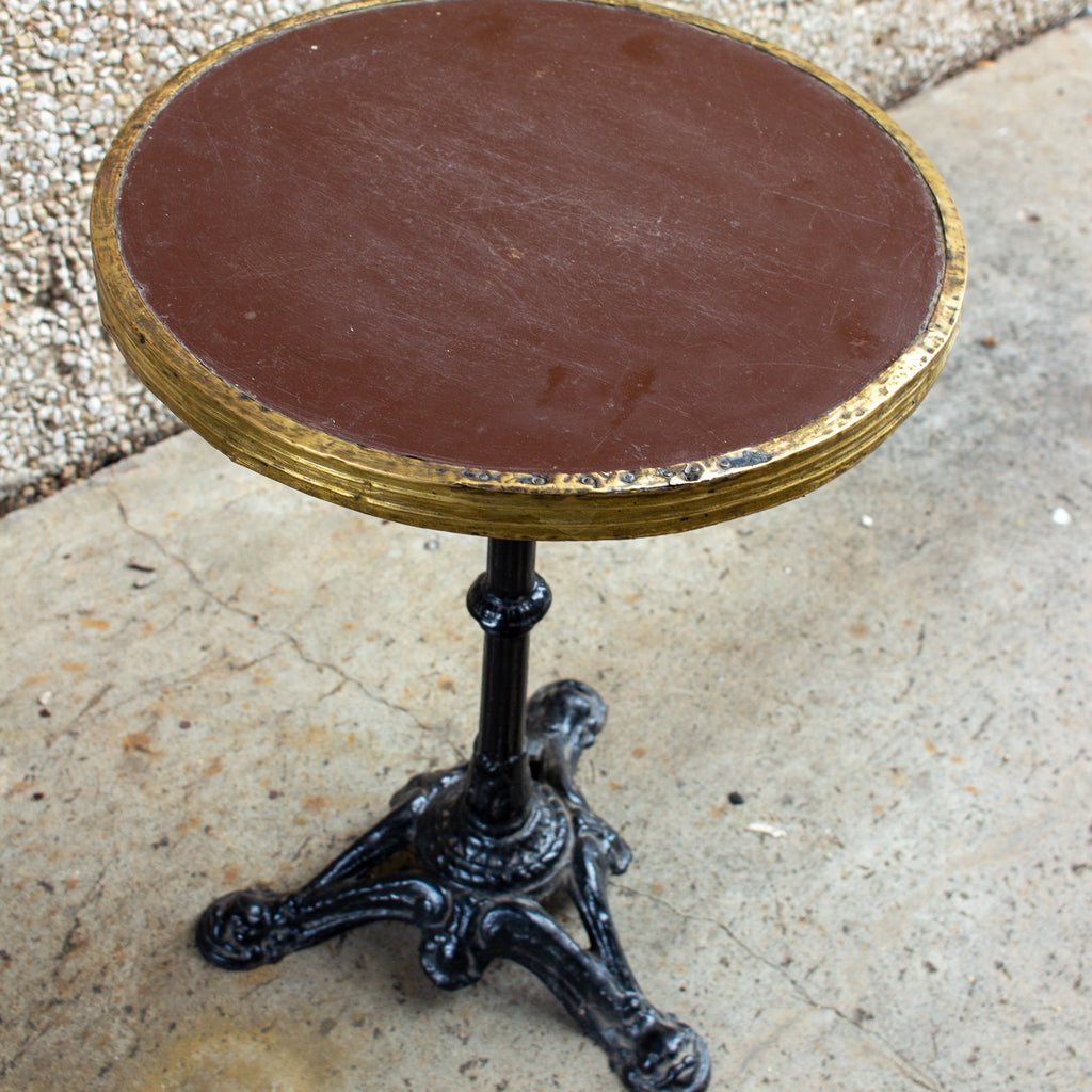 Antique French Iron and Wood Bistro Table