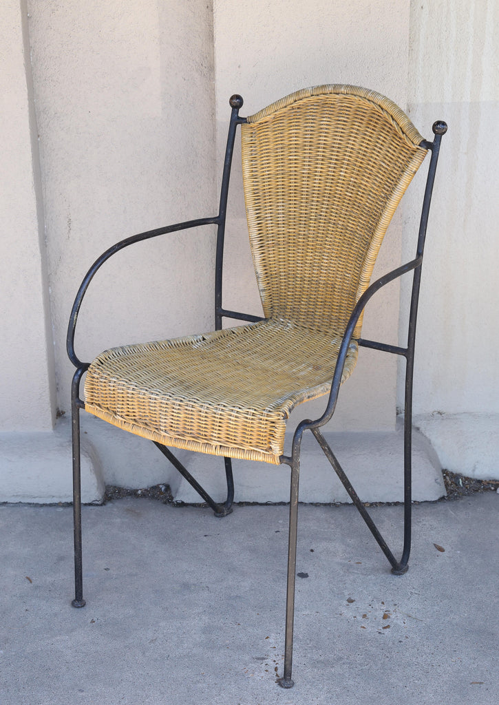 Set of Four Iron and Wicker Outdoor Armchairs Found in France, circa 1920