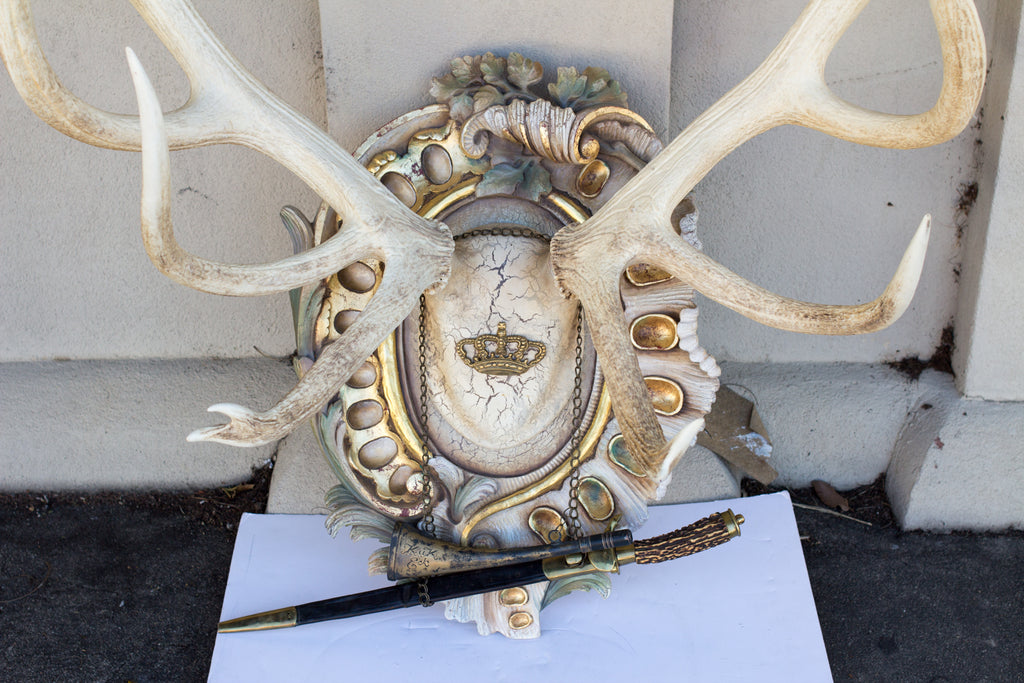 Antique Bleached Habsburg Red Stag Antlers on Rococo Plaque with Kaiser & King Hunt Horn