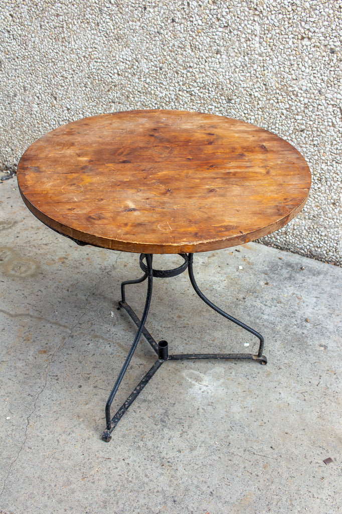 Vintage French Iron and Wood Garden Table