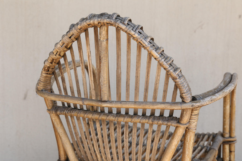 Pair of Antique French Rattan Armchairs