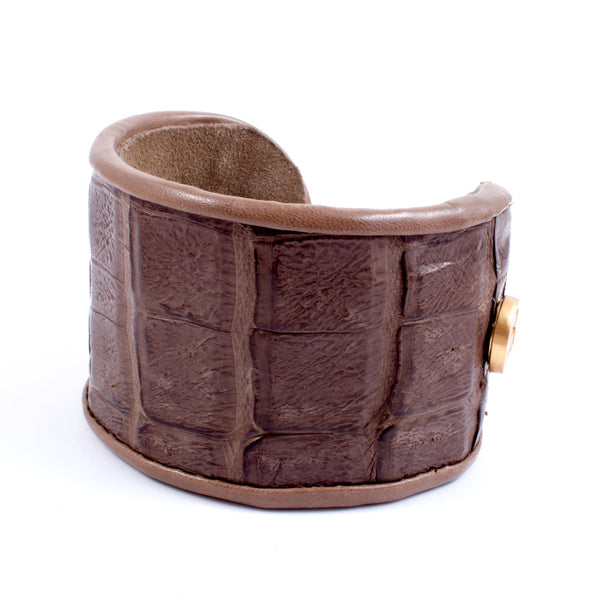 Crocodile & Leather Cuff in Mink