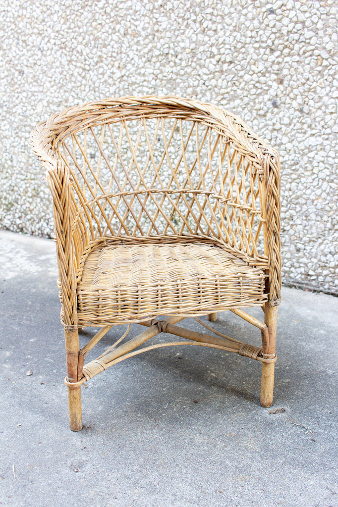 Vintage French Children's Wicker Chair
