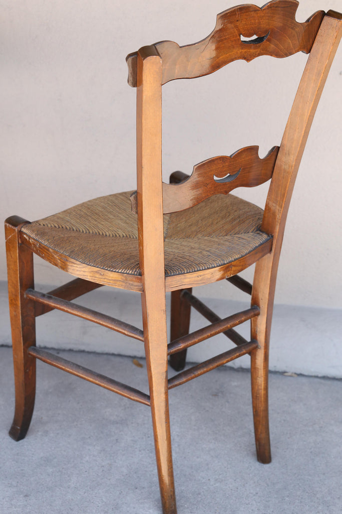 Set of Six 19th c French Oak Ornate Dining Chairs with Rush Seats
