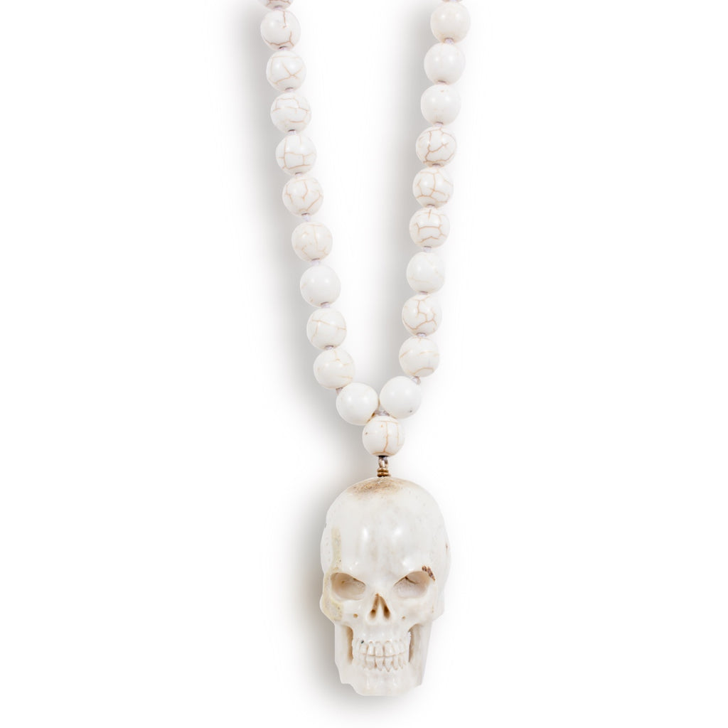Hand-carved Bone Skull Pendant & White Turquoise Mala Bead Necklace