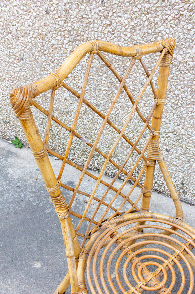 Set of 8 Vintage French Bamboo and Rattan Dining Chairs