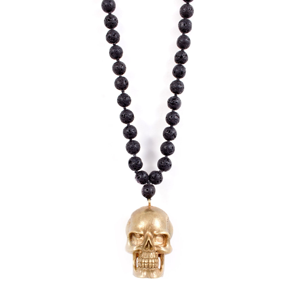 Hand-cast Brass Skull Pendant & Lava Mala Bead Necklace