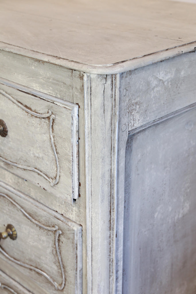 Antique French Hand Painted Commode in Greige and Silver with Carved Drawers