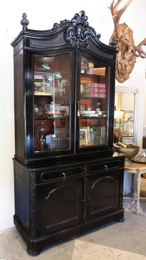 Large Antique Belgian Ebonized Wood Deux Corps Bookshelf
