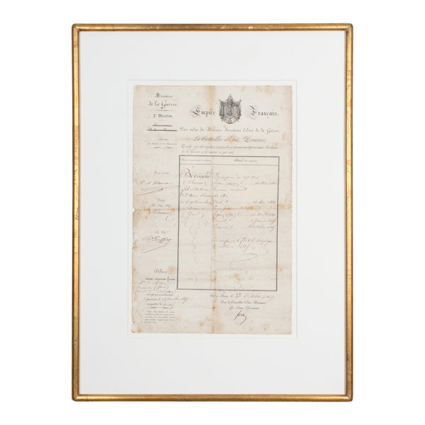 19th c. Framed French Military Certificate