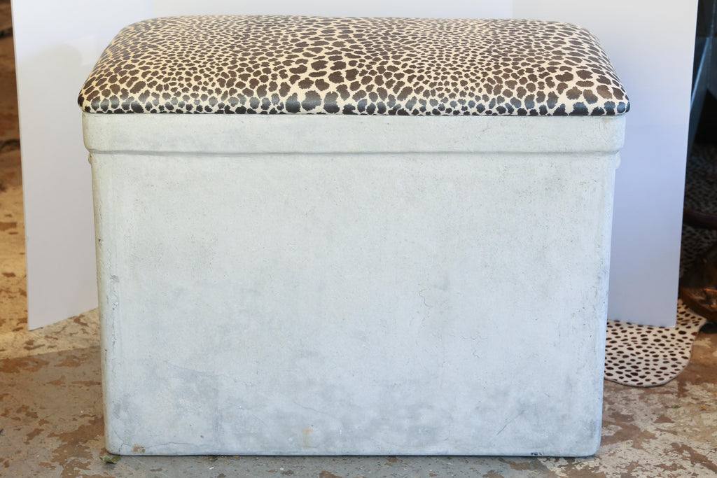 Vintage Willy Guhl Planter Bench with Cheetah Print Top