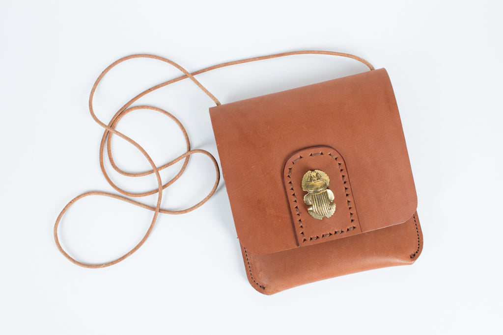 Bronze & Leather Scarab Crossbody by Clay Witt