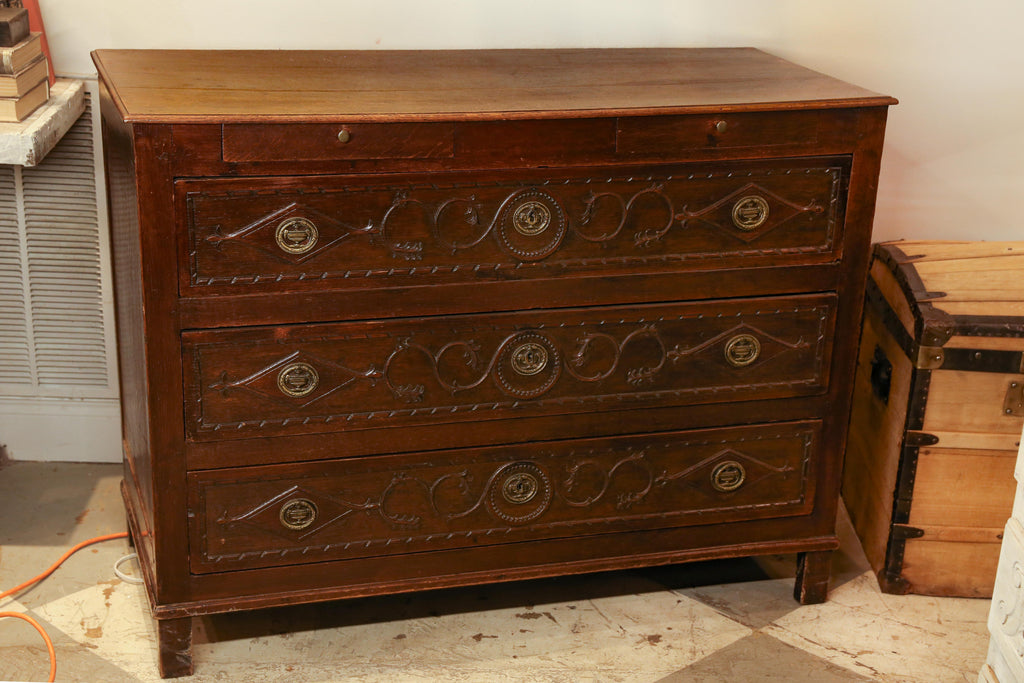 Antique French Commode with Intricately Decorated Drawer Fronts