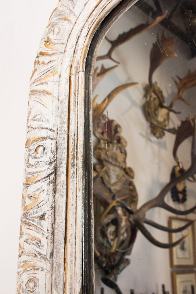 19th Century French Carved Louis Philippe Mirror in Greige & Gilt Finish
