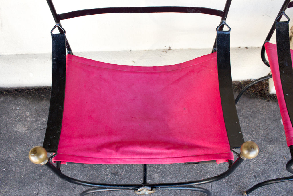 Antique Savonarola Armchair Pair with Red Canvas Seating