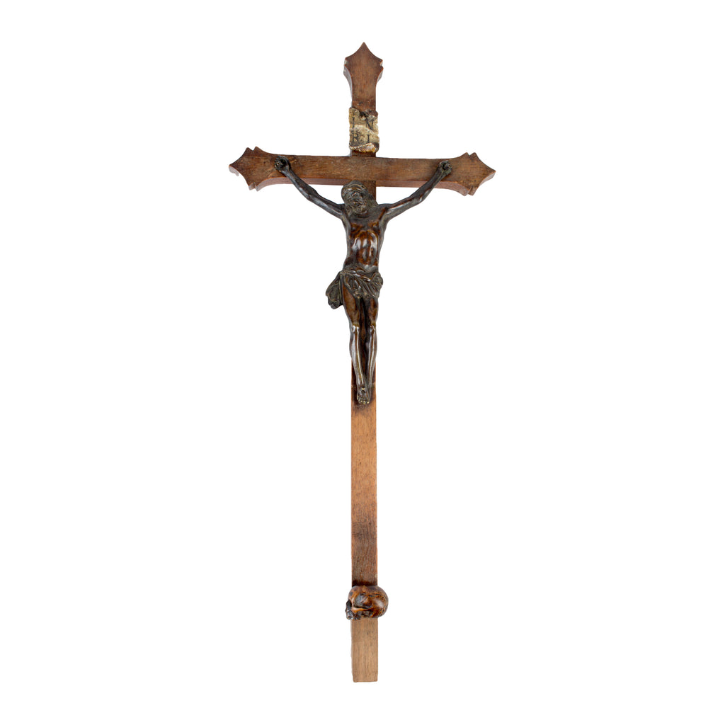 Antique Wood & Bronze Crucifix found in Paris, France