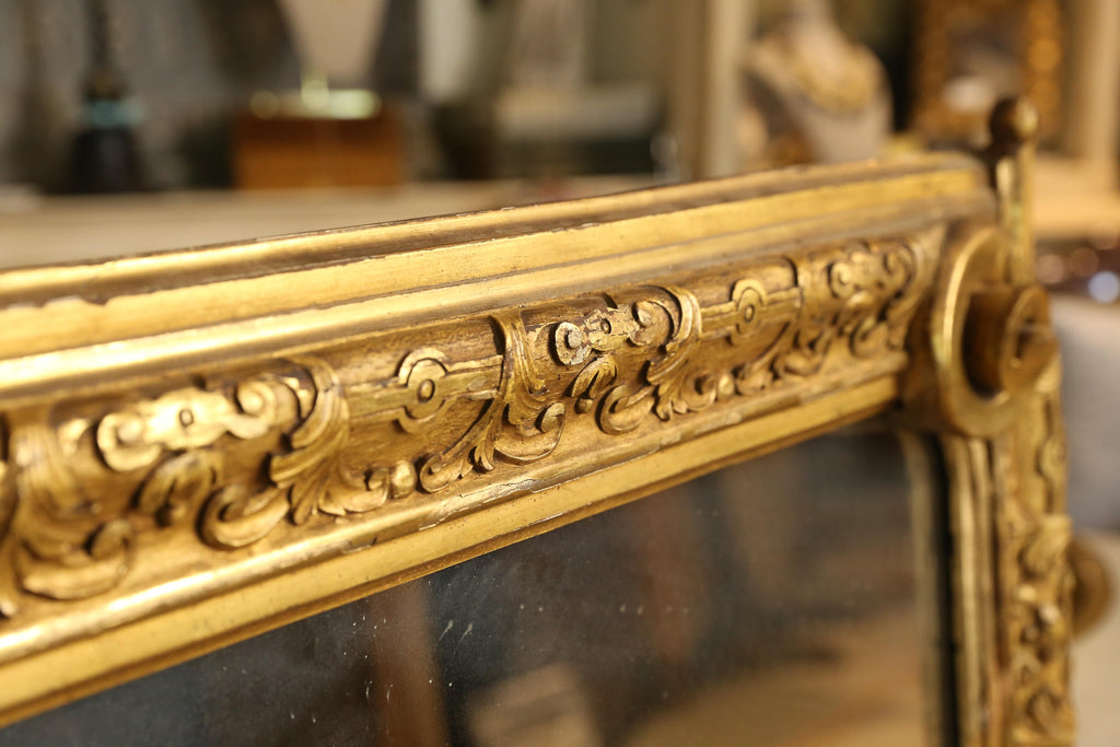 Antique Gilt Carved Wall Mirror with Scroll Details, circa 1870