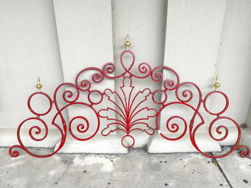 Antique French Art Nouveau Painted Iron Panel with Brass Finials