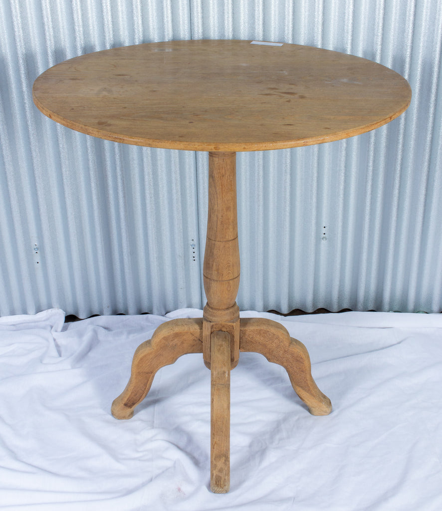 Antique French Bleached Oak Round Side Table