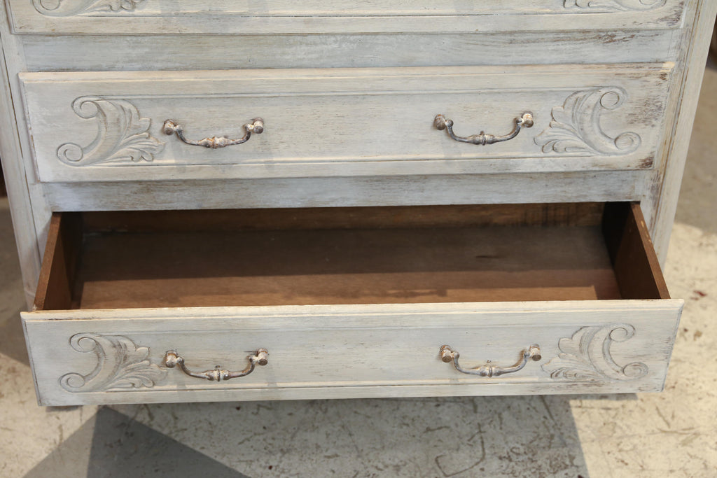 Antique French Petite Bleached Three-Drawer Dresser with Carved Drawers