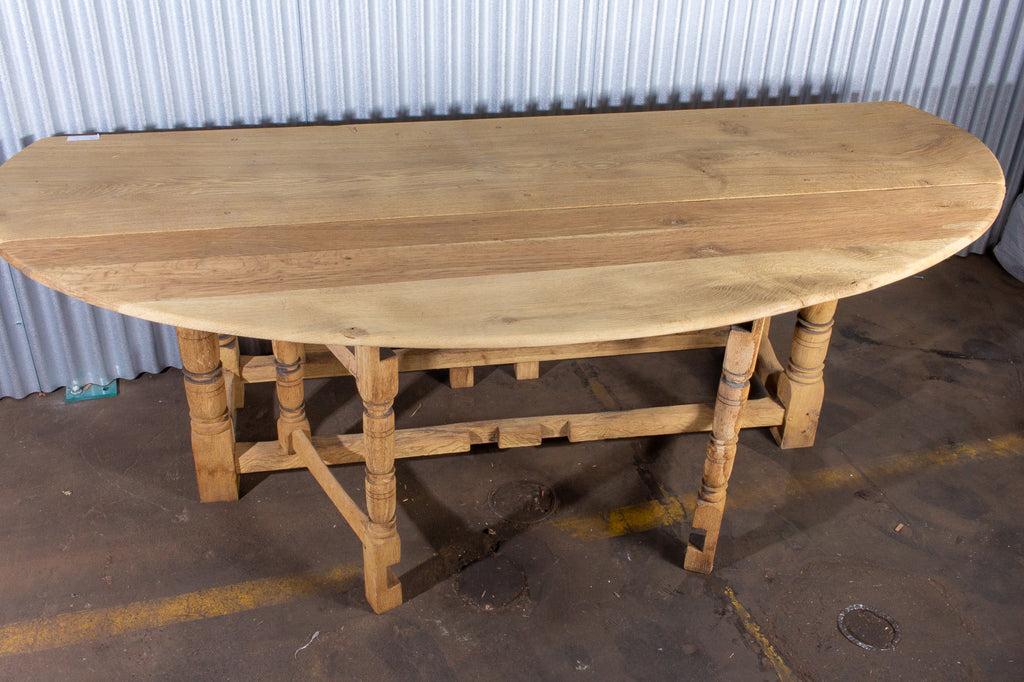 Vintage French Oak Gate Leg Drop-Leaf Table