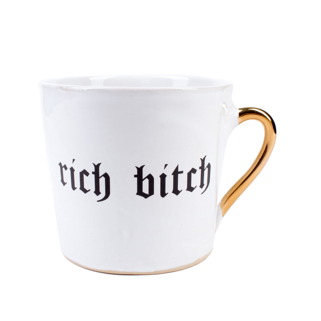 "Kuhn Keramik ""Rich Bitch"" Mug with Gold Handle"