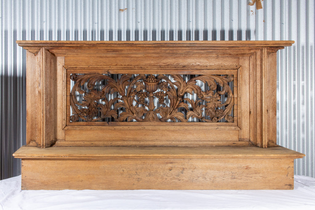 Large Antique French Oak Prie Dieu with Open Carvings