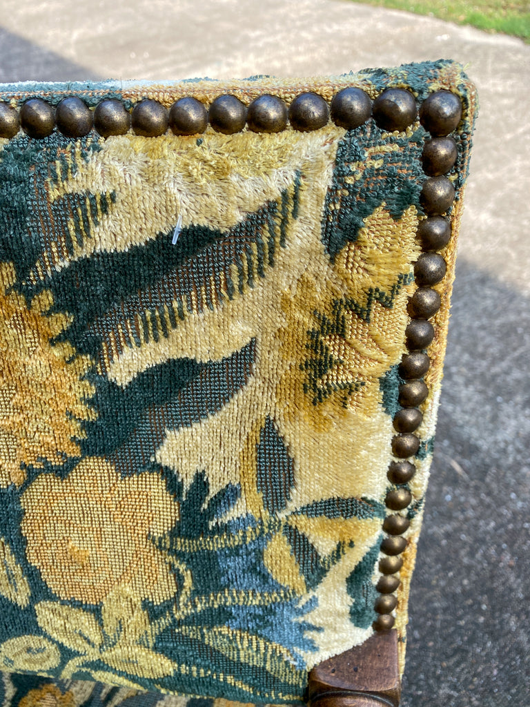 Antique French Barley Twist Armchair with Chintz Upholstery, circa 1900