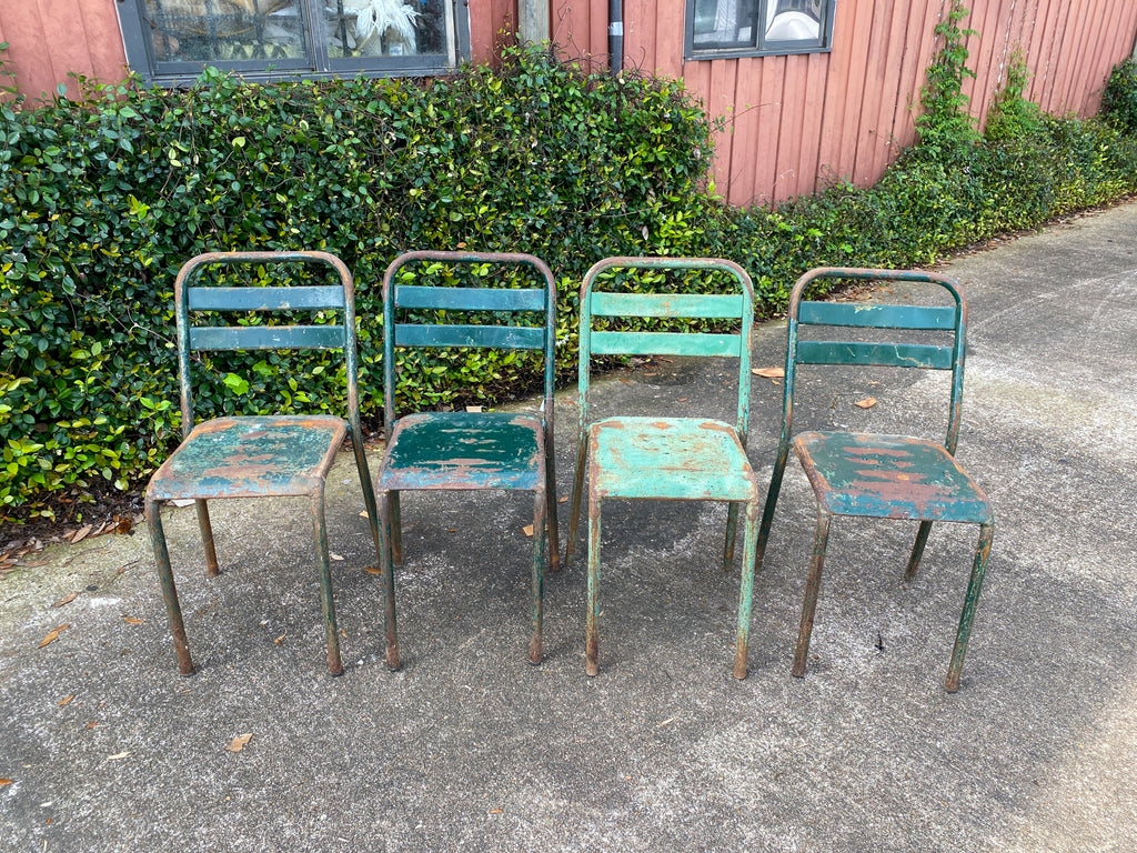 Set of 4 French Industrial Painted Metal Stacking Chairs, circa 1960s