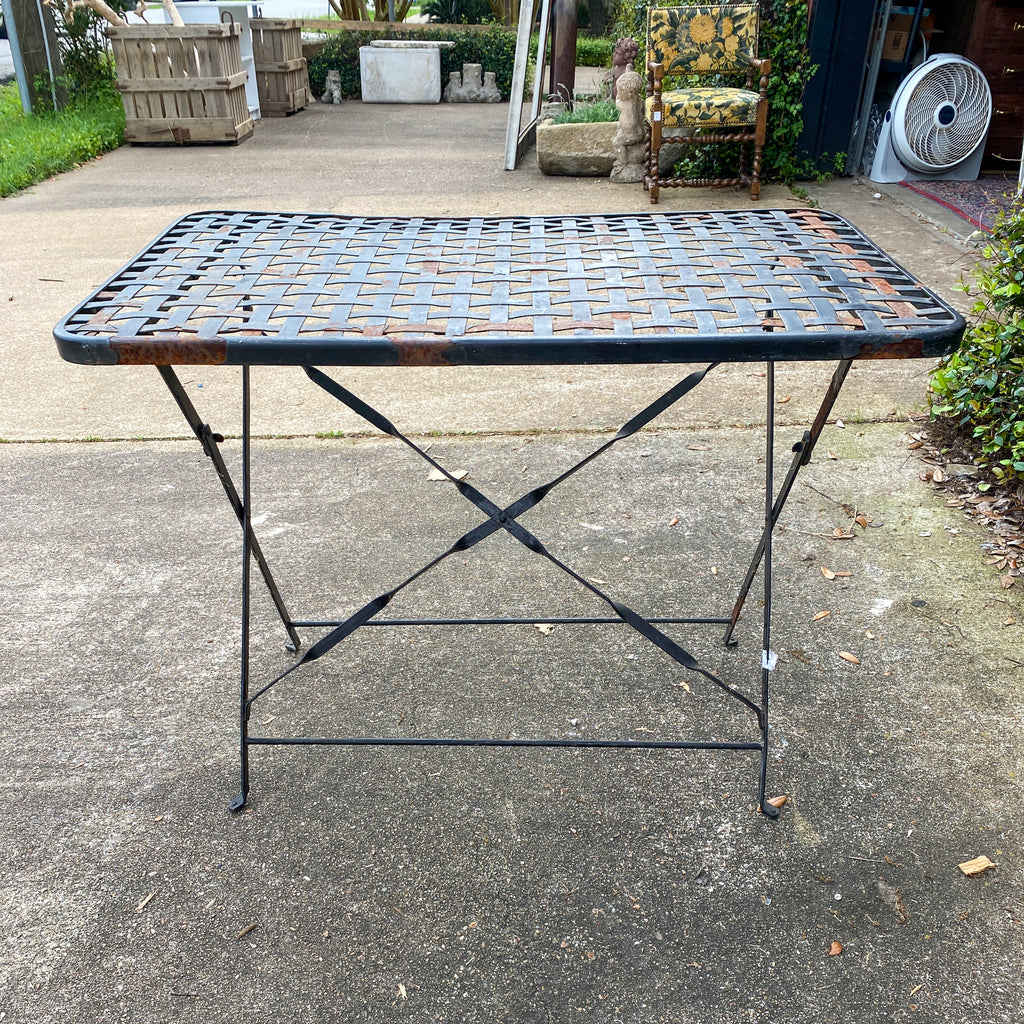 Rustic 1940s French Wrought Iron Folding Garden Table