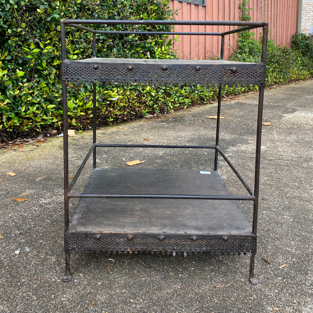 Vintage 1940s French Gothic Metal Garden Table and Plant Shelf
