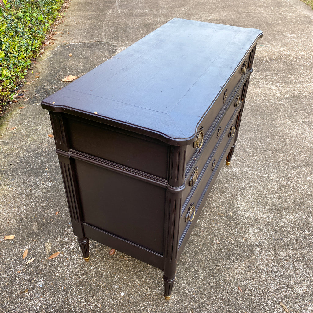 Antique French Three-Drawer Commode in Matte Black Painted Finish
