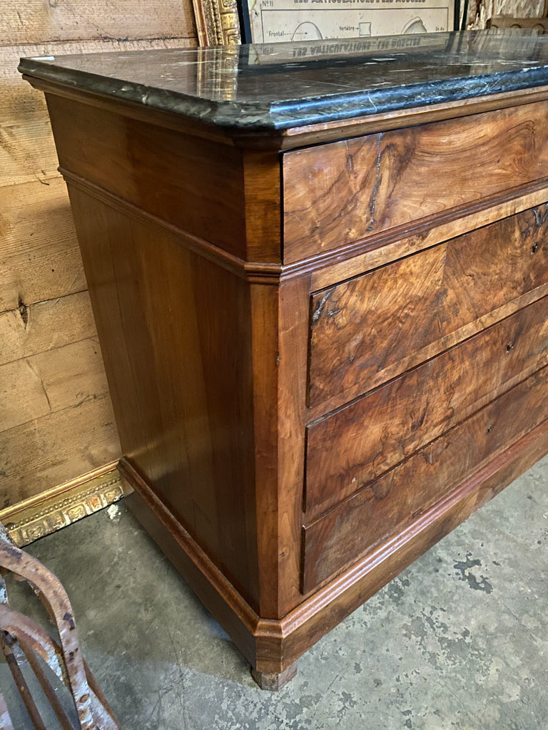 Antique French Louis Philippe Mahogany Chest of Drawers with Dark Marble Top