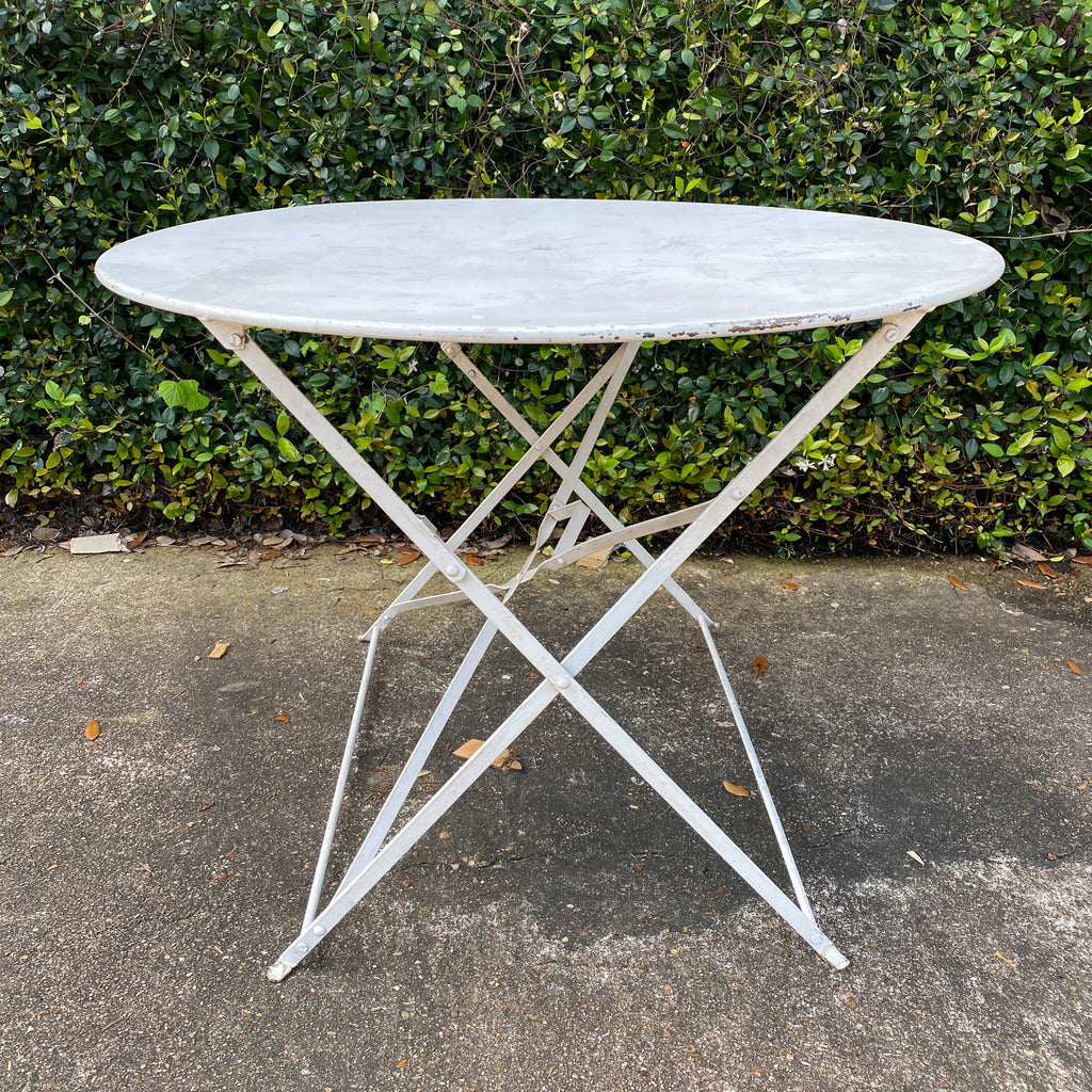 Vintage 1930s French Painted Round Metal Folding Table in Antiqued White