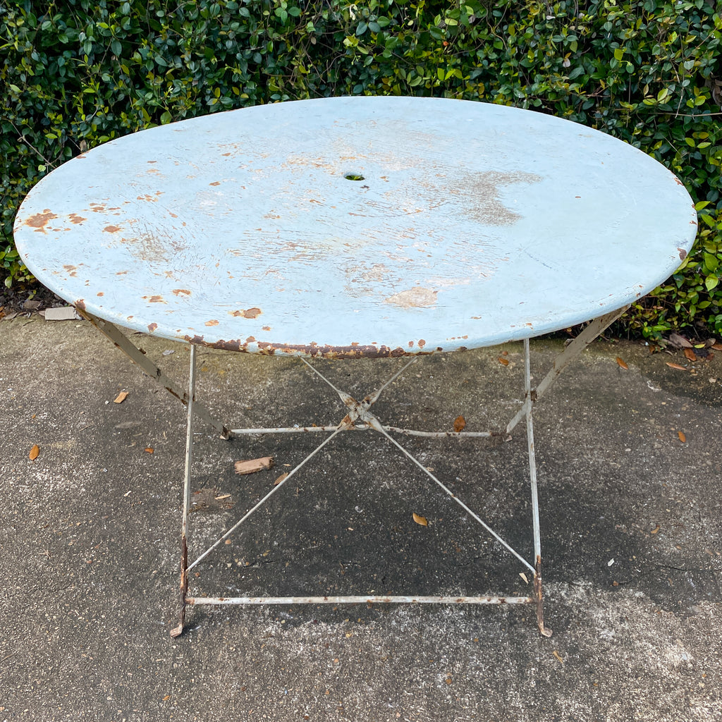 Vintage 1930s French Painted Round Metal Folding Table in Sky Blue