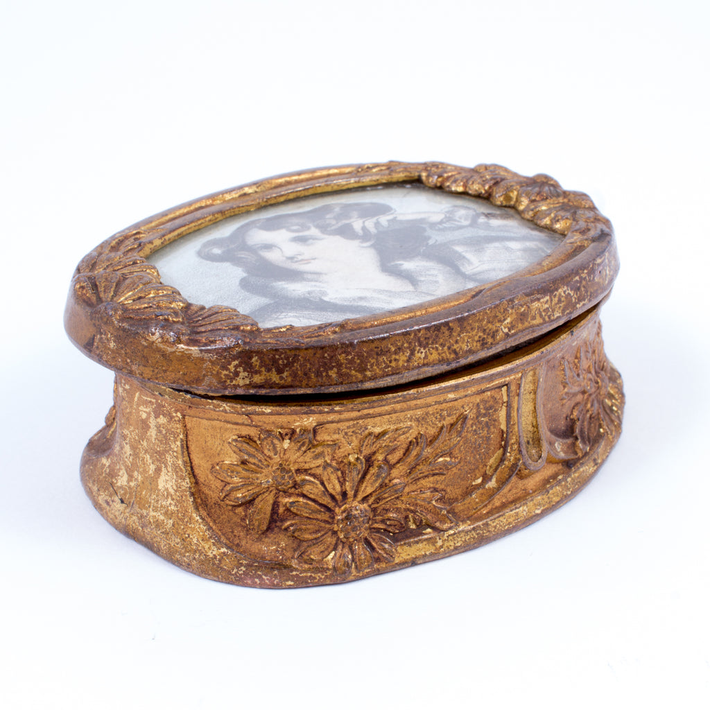 Antique Brass Trinket Box with Woman's Portrait found in Paris, France