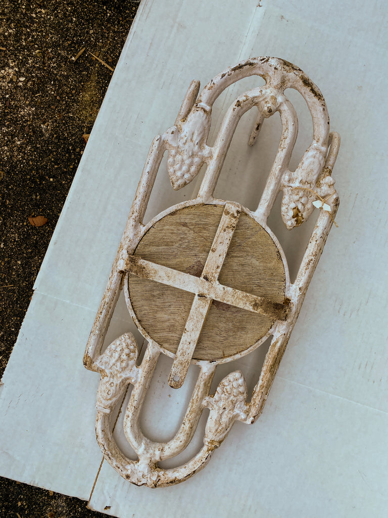Antique Spanish Painted Cast Iron Wall Mirror with Three Hooks